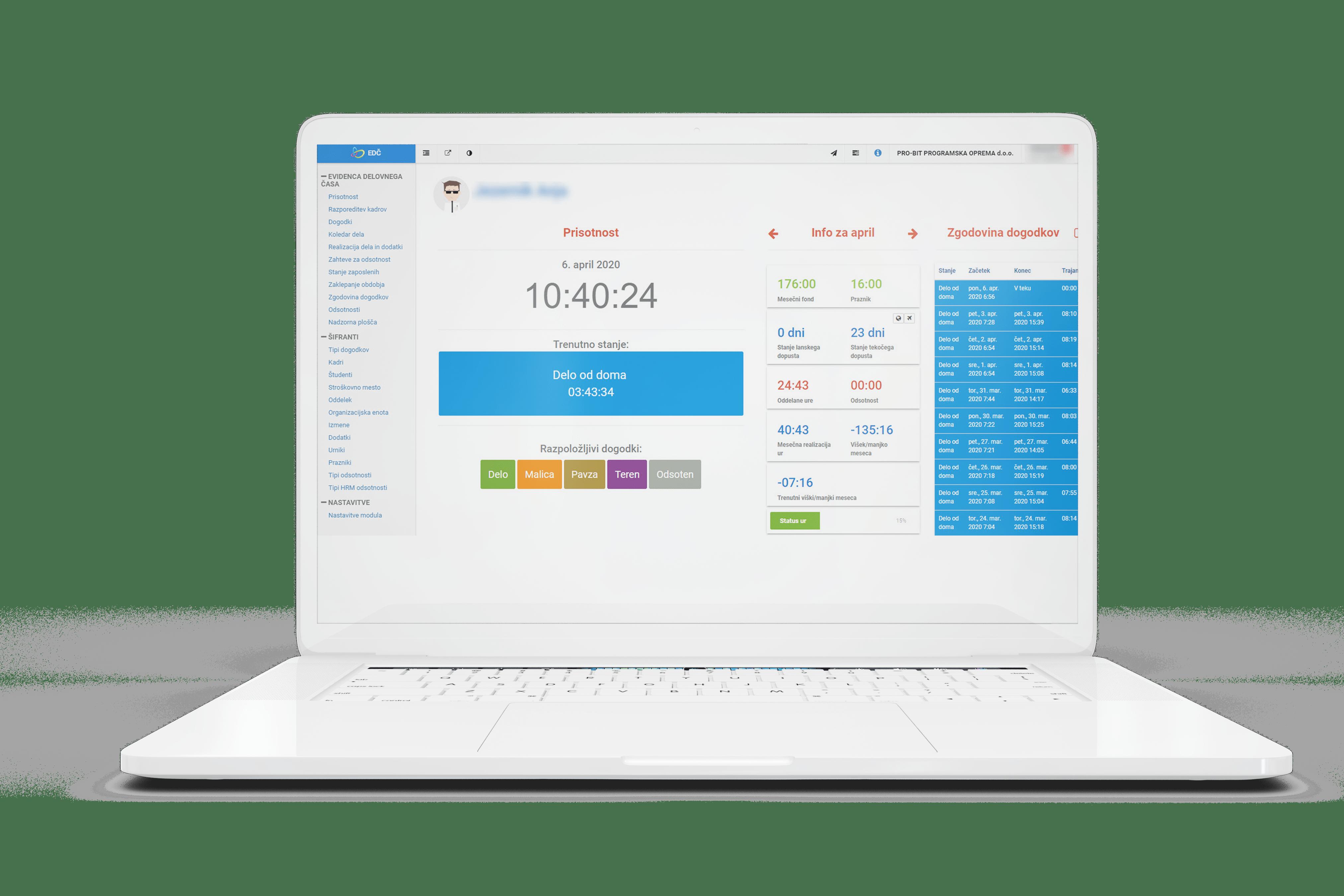 Pro-Bit Registracija delovnega časa